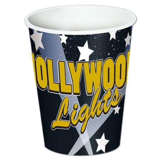 Hollywood thema bekers. 8 stuks bekers in Hollywood thema. Inhoud: ongeveer 250 ml.