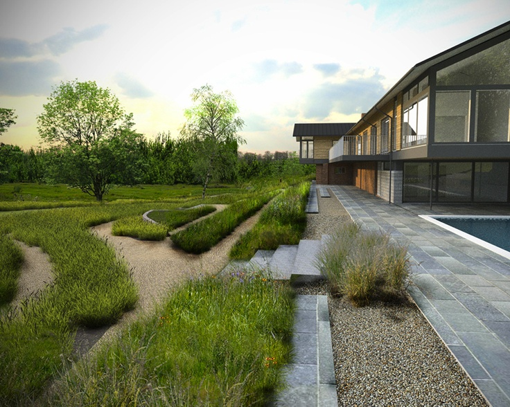 Modern natural gardens winchester paving surface for Surface design landscape
