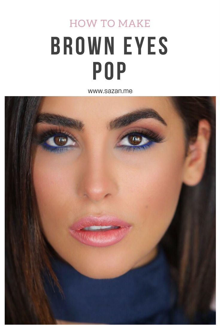 How to make brown eyes pop! Blue eyeliner makeup tutorial Sazan Hendrix www.sazan.me  https://www.youtube.com/channel/UC76YOQIJa6Gej0_FuhRQxJg