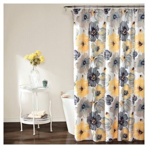 Leah Floral Shower Curtain Yellow Gray Lush Decor With Images