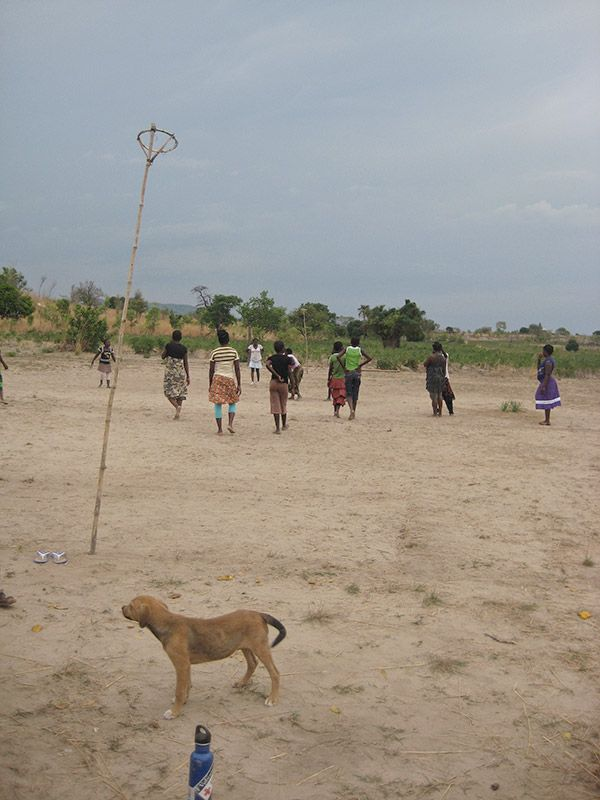 Netball in Northern Mozambique. Check out the netball posts which are made from bamboo.