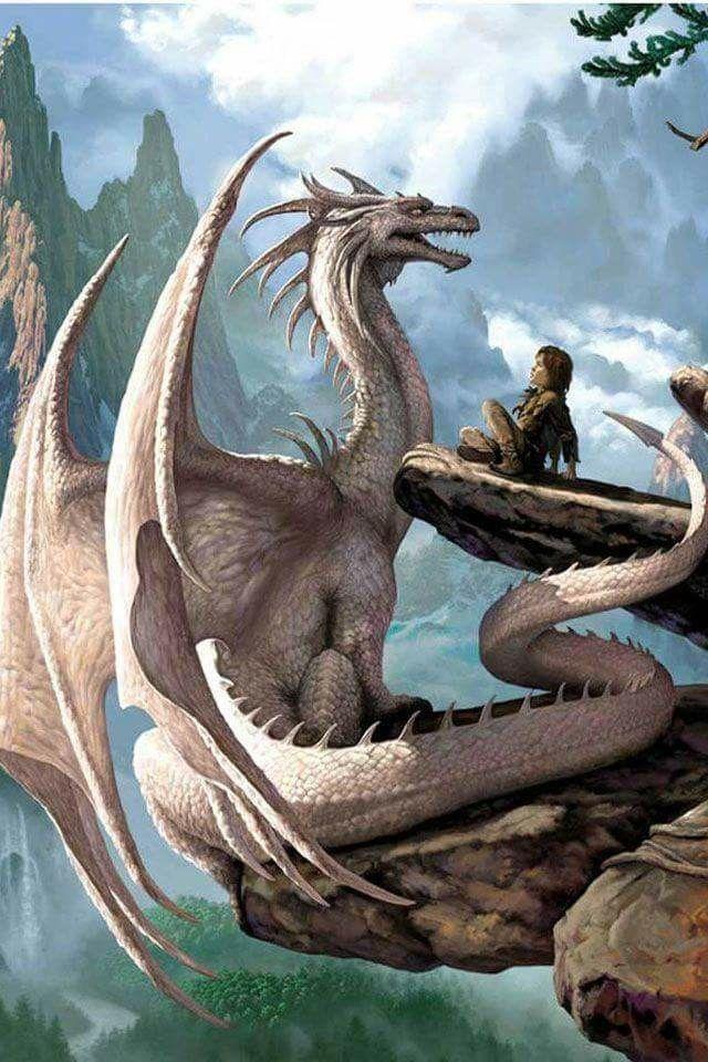 White dragon and boy