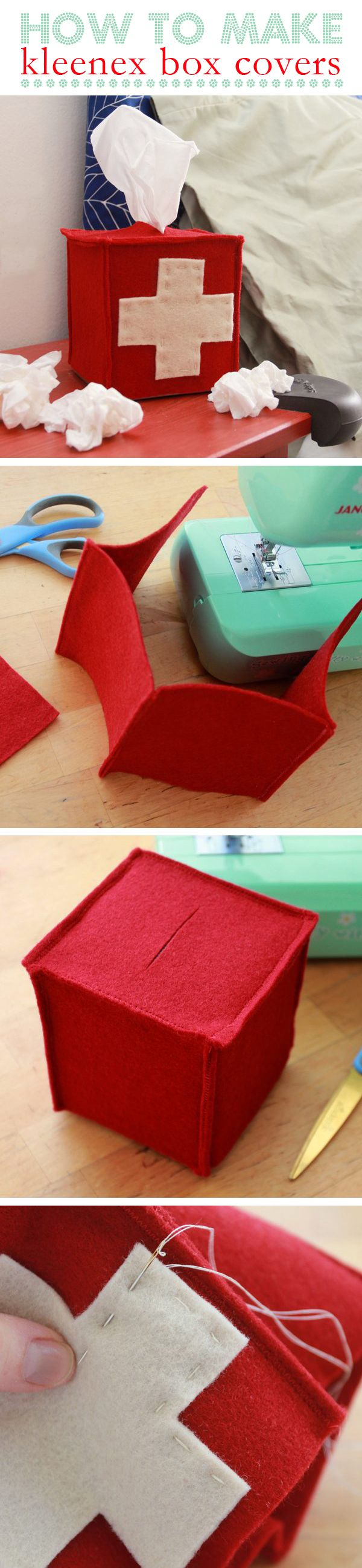 DIY felt tissue box cover. You can make it any design you'd like to match your home. This is great for allergy and flu season! http://www.ehow.com/how_12073022_make-kleenex-box-covers.html?utm_source=pinterest.com&utm_medium=referral&utm_content=inline&utm_campaign=fanpage