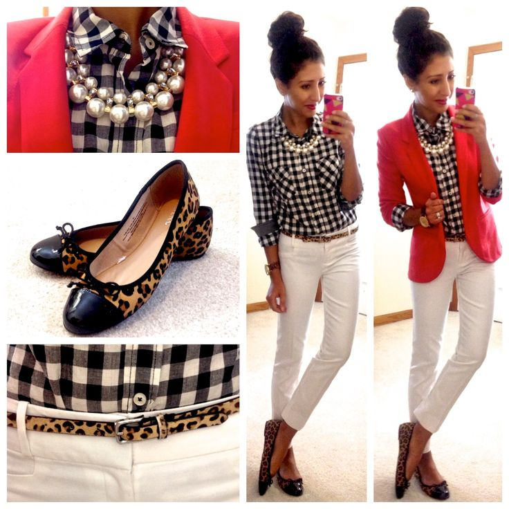 Fall casual style: Black and white check shirt, white skinny pant, leopard shoe, leopard belt, red / fuchsia blazer, pearl statement necklace