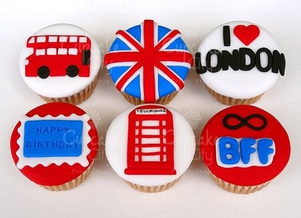 London Party Inspiration board by Bella Bella Studios. Adorable idea!  photo via cakesdecor.com
