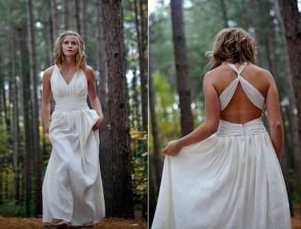 I love everything about this picture.  The dress, the woods, everything.  Greek inspired cross back halter wedding dress - Green Wedding Guide
