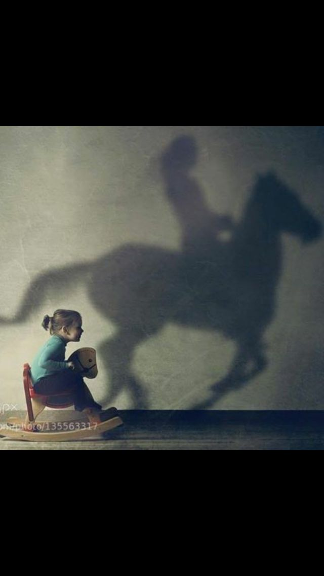 This was so me when I was a little girl!!!...and I had a stick horse when I really wanted to get somewhere. When I was five, I graduated to the real thing...been horse crazy ever since.