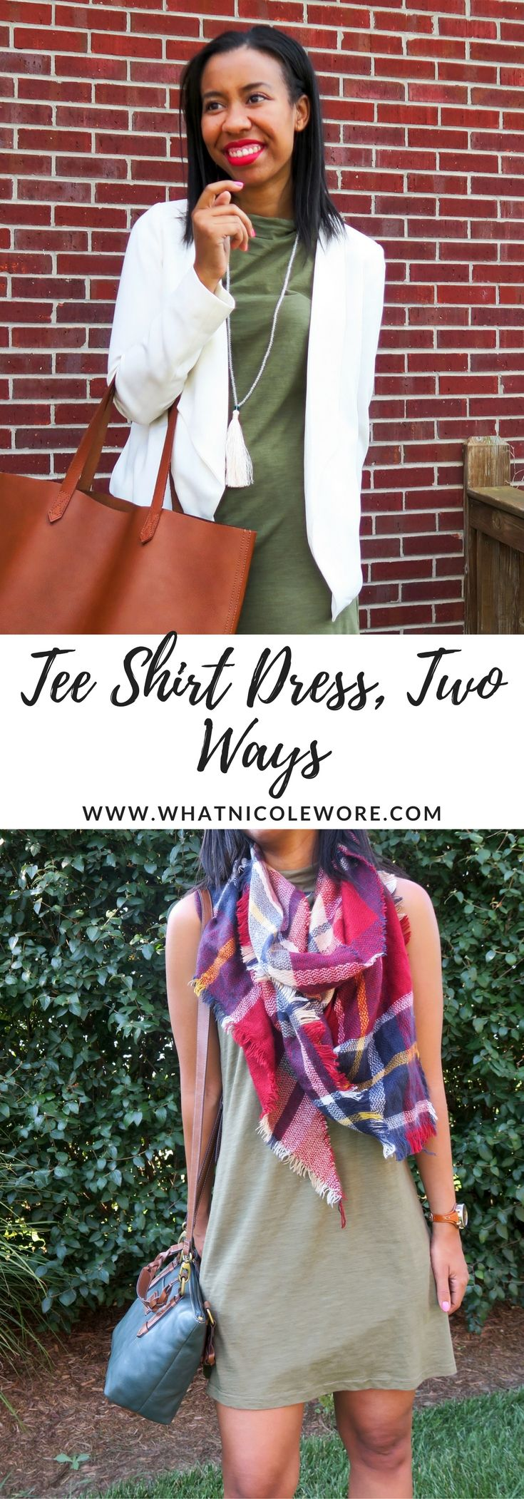 Affordable fashion blogger shares two ways to wear a tee shirt dress just in time for fall weather. How do you wear your tee shirt dresses?