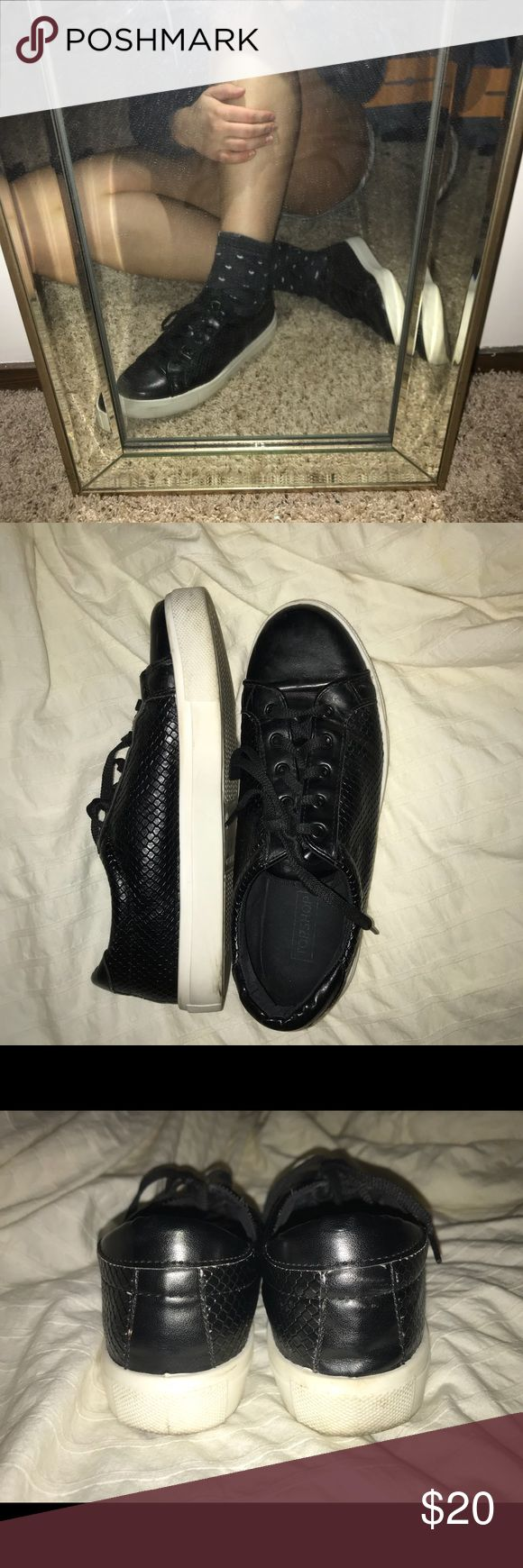Black Leather Sneakers Black leather sneakers with a textured snake print in the middle. White sole. Topshop Shoes Sneakers