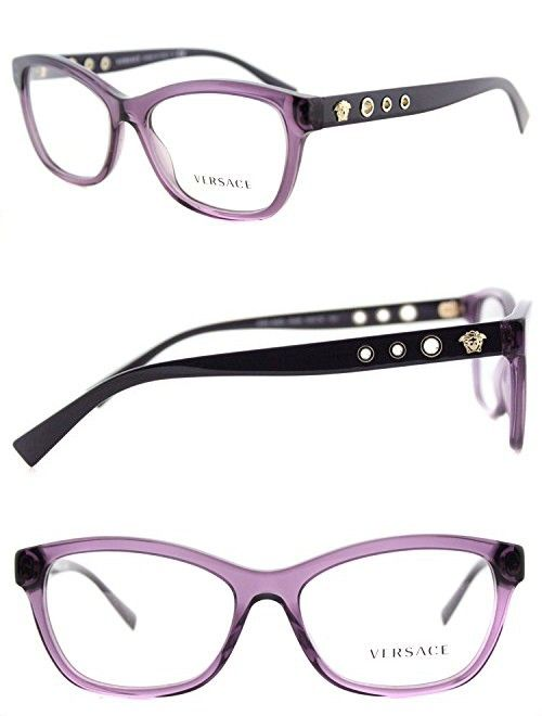 98a04fb46a Versace VE3225 Eyeglass Frames 5029-54 - 54mm Lens Diameter Transparent  Violet VE3225-5029-54