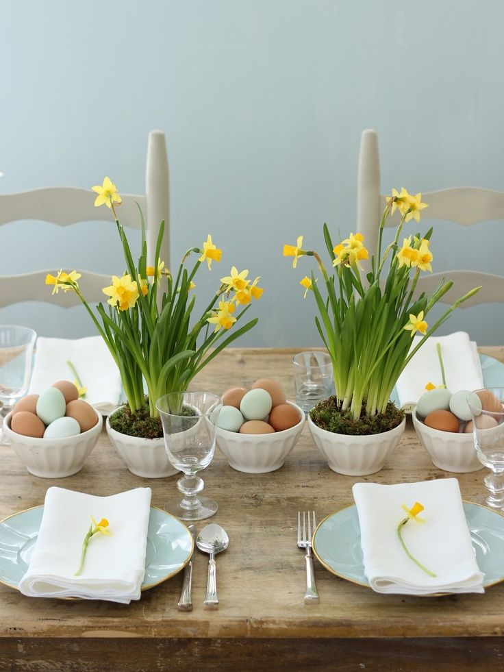 Daffodils and farm eggs in latte bowls