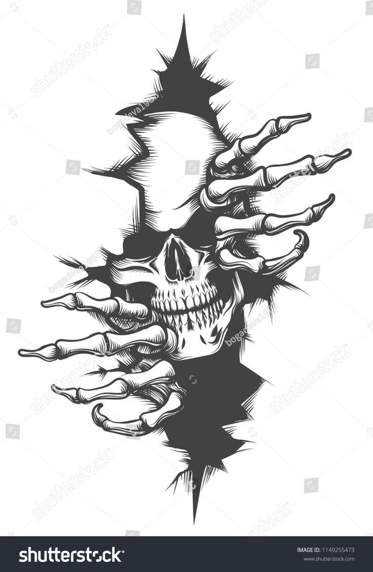 Human Skull peeping Through Hole drawn in tattoo style. Vector illustration.