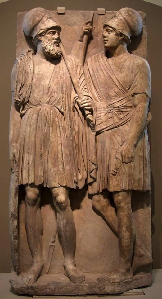 #Greek grave stele with two #warriors. From Taman peninsula, 4th c. BC. Marble. #pushkin #museum #fustanella #evzones