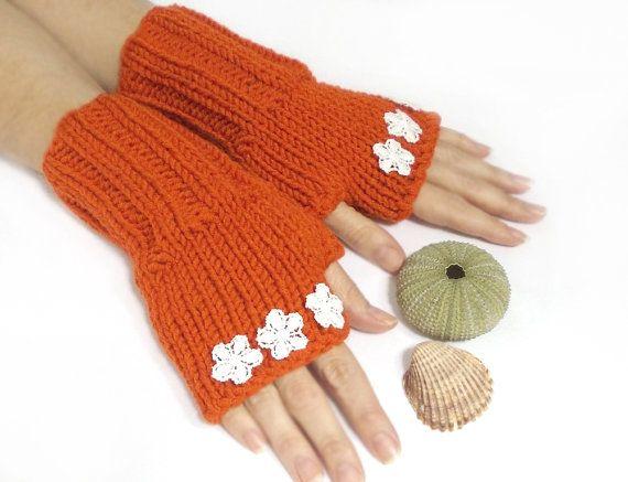 Mittens Handmade Mittens Fingerless Gloves Pumpkin Hand by aynikki, $27.00