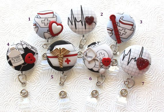 Medical ID Badge Reel/Nurse/Doctor/Medical/Teacher/School/Office/Stethescope/Bandages/Nurse Hat/Red Heart/Cardiac