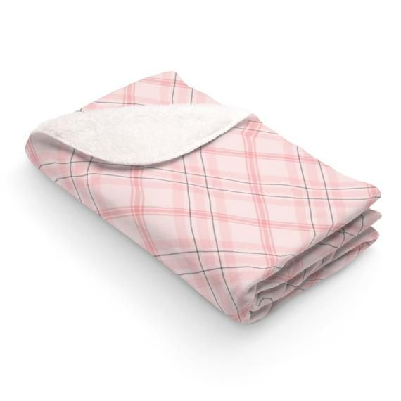 This Pretty Blush Pink Plaid Sherpa Fleece Blanket Will Add Personality To Your Living Room The Plaid Pattern Was De Pink Throw Blanket Pink Plaid Pink Throws