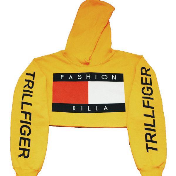 Tees ($40) ❤ liked on Polyvore featuring tops, t-shirts, crop, hoodies, sweatshirts hoodies, yellow hoodies, yellow hoodie, crop top e cropped hoodies