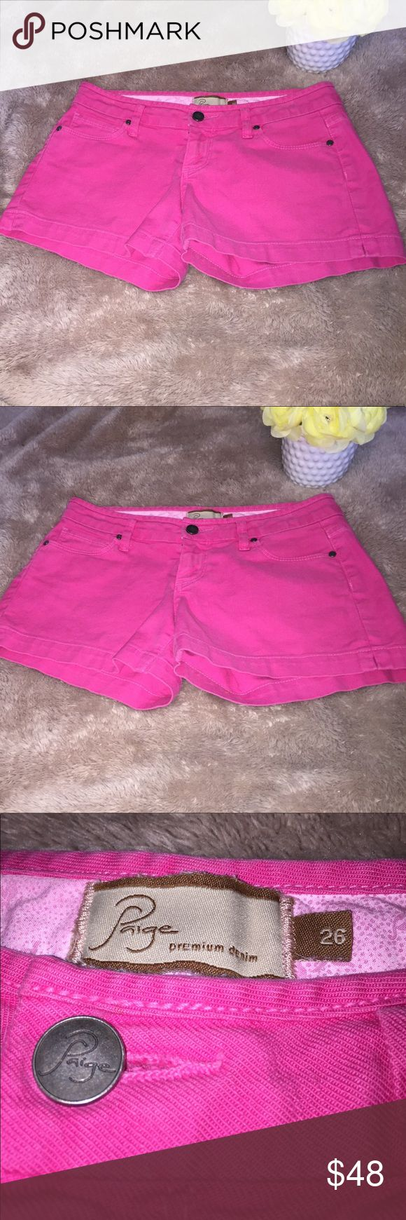 EUC PAIGE Premium Denim Canyon shorts pink size 26 EUC PAIGE Premium Denim Canyon shorts pink size 26. Excellent condition with no rips tears marks or stains. Lightly faded, as part of the natural dye process. SUPER ADORABLE! Approximate measurements when laid flat are waist 15, rise 7.5, inseam 3.5, length 10. Comes from a smoke free home, thank you! Paige Jeans Shorts Jean Shorts