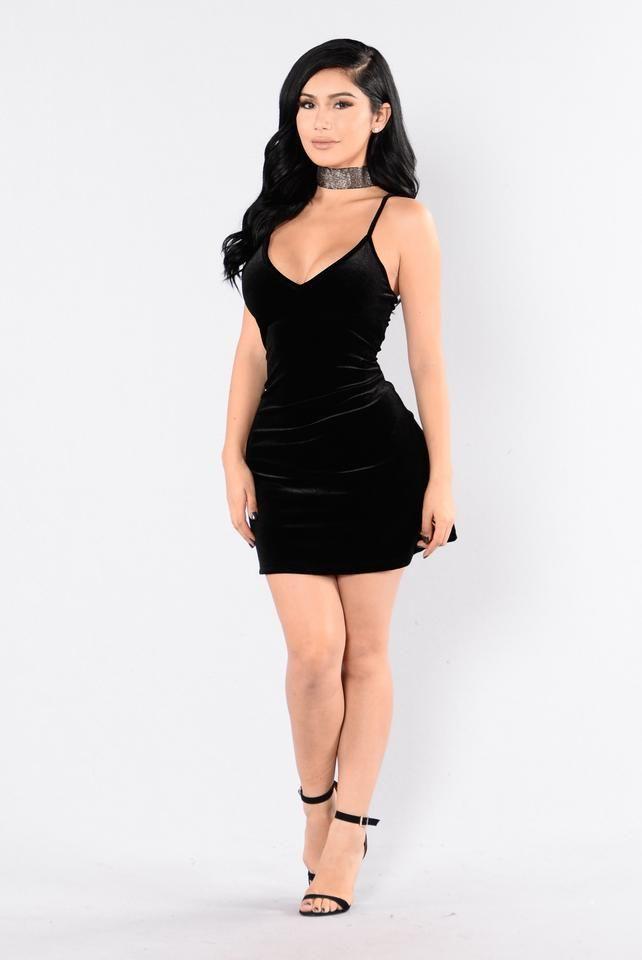 Velvet Roses Dress - Black