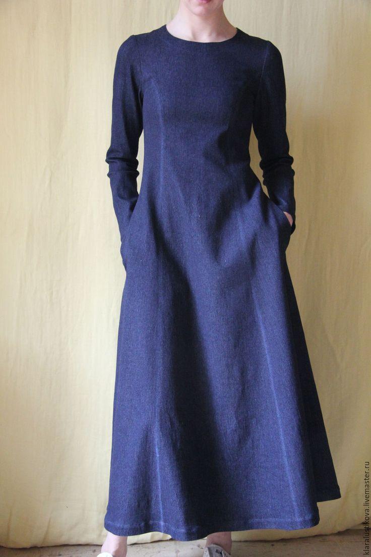 Купить Вещь № 104 - черный, однотонный, деним, длинное платье, платье по фигуре