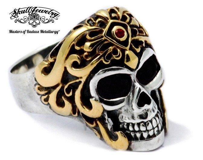 Montezumas Revenge Golden Warrior Skull Ring