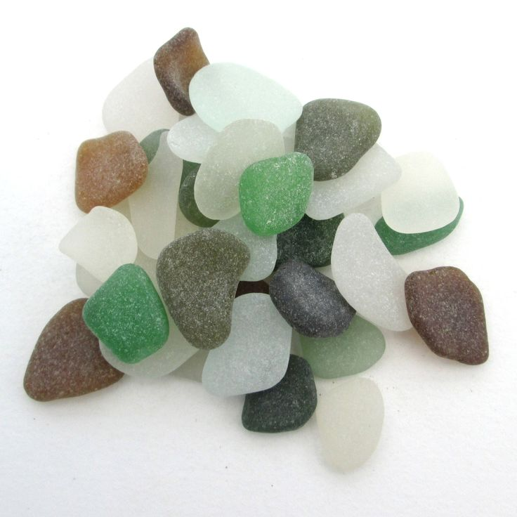 English beach glass, Cornish sea glass, Surf tumbled glass, eco craft supply, jewelry making supplies, 30 frosted pieces, green brown white by BlueBoxStudio on Etsy