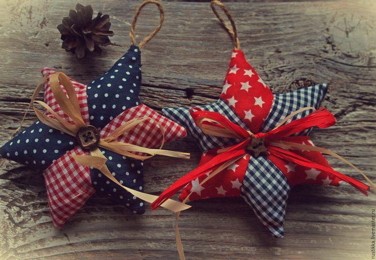 """Купить Елочные игрушки """"Звезды"""" - ярко-красный, елочные украшения, кантри стиль, уютные украшения"""