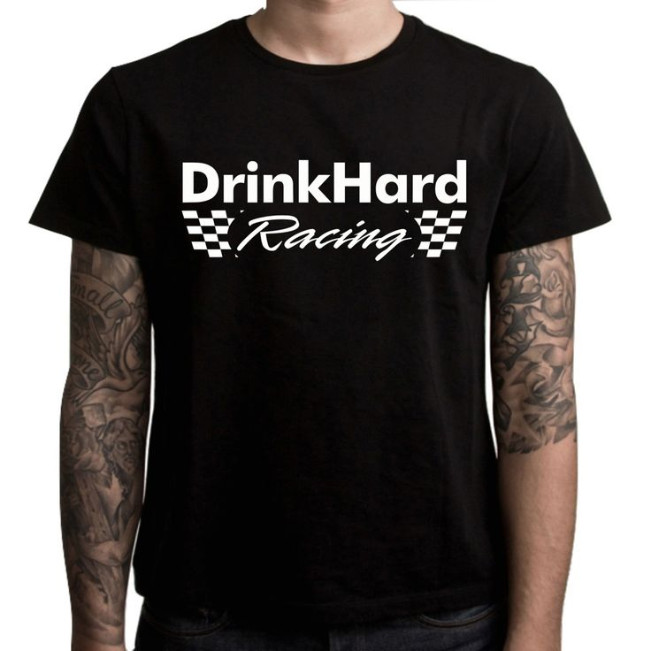 DrinkHard Racing Men's Race Day T-Shirt. 100% Pre Shrunk Cotton Gildan Basic Fit Stock. Front (Chest) Print and DHR Diamond on Back Neck. Perfect for Every Race Fan! Sizes S-3XLT (Yes we have 2XLT and 3XLT!) Black.