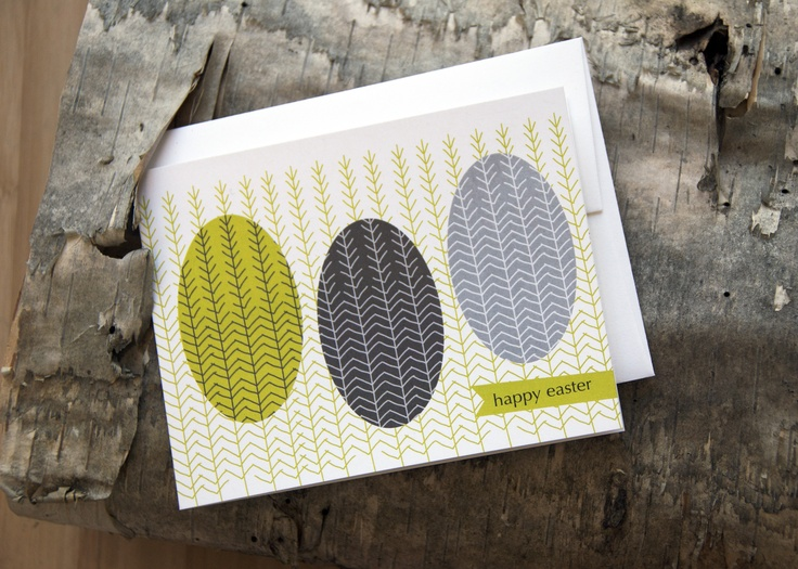 Spring into the Easter season with these fresh new cards featuring easter eggs in slate greys and greens hidden among sprouting fields of grass.