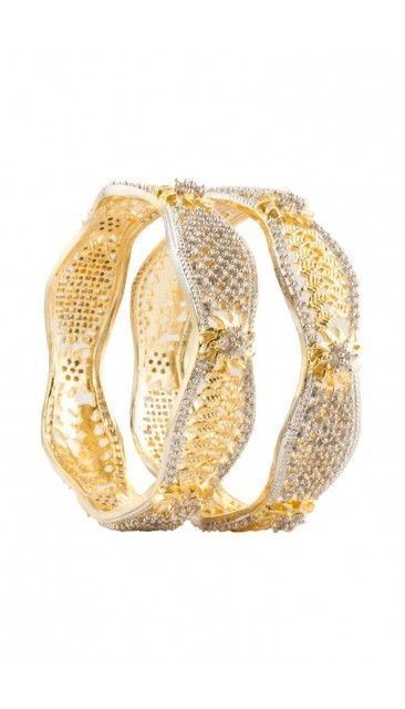 Broad Indian Golden traditional floral bangle - 80953