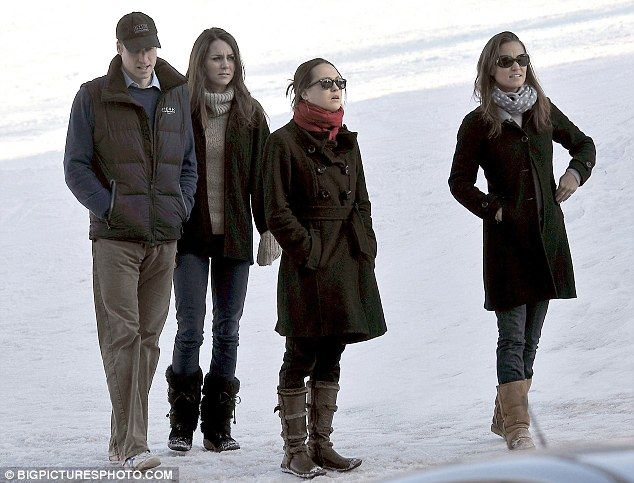 Prince William and girlfriend Kate Middleton enjoying a short break skiing with Kate's sister Pippa and some friends