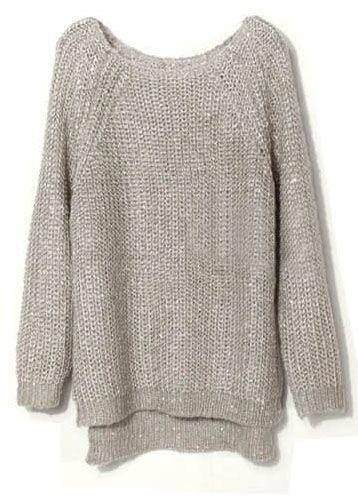Light Grey Raglan Sleeve Sequined Chunky Sweater #SheInside