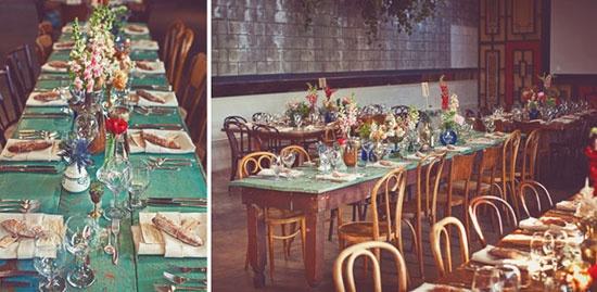 ''Más ejemplos de flores para centros de mesas, de diferentes tamaños los jarritos, bases y botellas y variedad de color floral'' –Ana Serradilla  Bodas bohemias