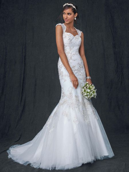 Trumpet Wedding Dress Tulle : Bright and colorful trumpet gown satin cap d agde