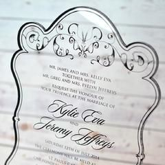 """Crystal Elegance"" is an elegant bevel edged acrylic wedding invitation printed in black font with an elegant border design This ""Wonderful Acrylic Wedding Invitations"" is available in a variety of font styles and colours. Inspired Design is highly regarded for their beautiful designs, quality and customer service. We are located in Melbourne, Australia and can deliver worldwide  Note:  minimum quantities apply with some of our acrylic invitations.  Inquire within."
