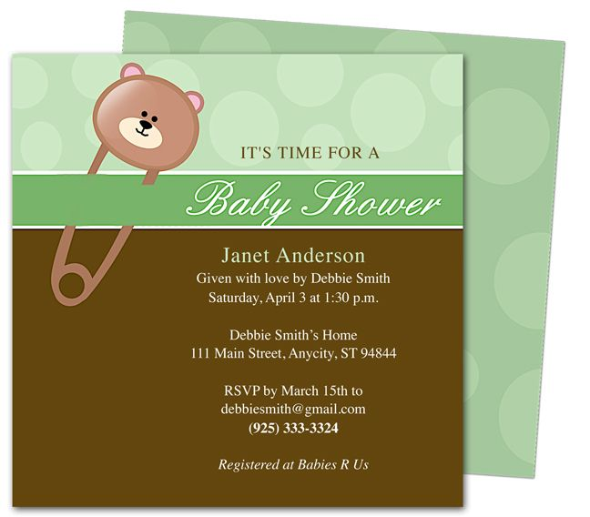 8 best Baby Shower Invitation Templates images on Pinterest - baby shower invitations for word templates