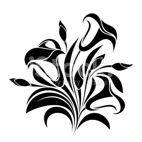 Абстрактные цветы.  Вектор черный силуэт. роялти-фри стоковый вектор искусства