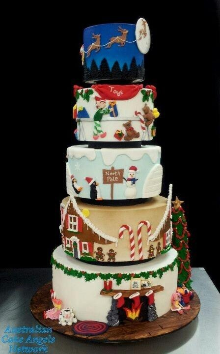 A 5-Tier Christmas Landscape Cake - Wonderful! Such Detail on Each Tier!