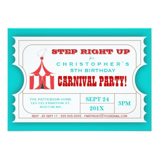 434 best Circus Birthday Party Invitations images on Pinterest - best of invitation card birthday party