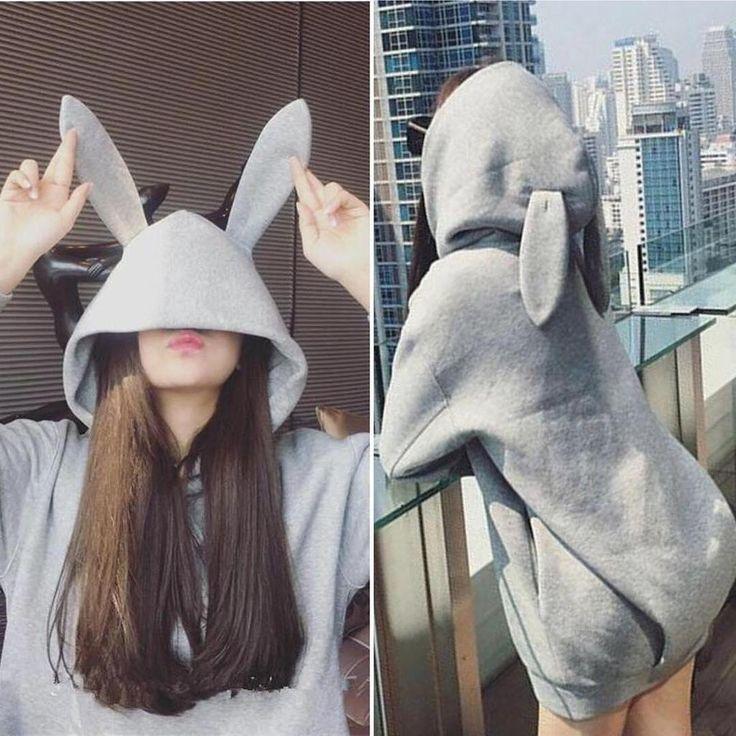 "Black/grey bunny ear hoodie coat SE10721        Coupon code ""cutekawaii"" for 10% off"