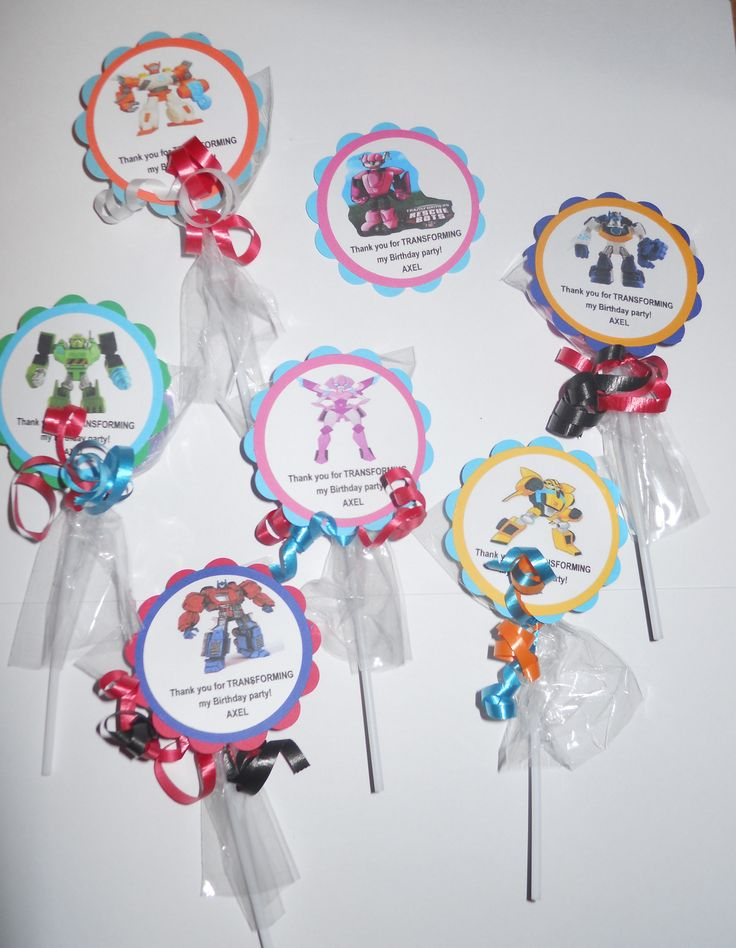 12 Transformers Rescue Bots Gourmet Chocolate Oreo cookie Pops Personalized Party Favors with custom tags by Hannahscustomfavors on Etsy