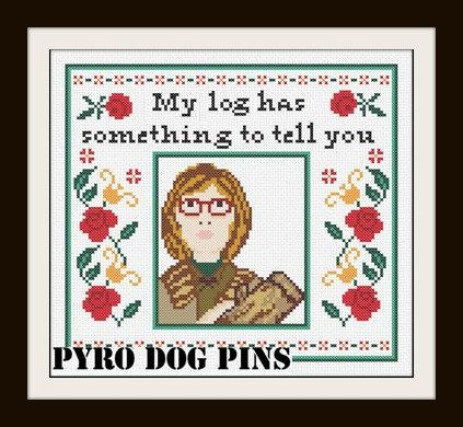 Log Lady Pattern/PDF -  Twin Peaks Cross Stitch Sampler - INSTANT DOWNLOAD @Milena Sobral Sobral Sorrentino we need to do this cross stitch!