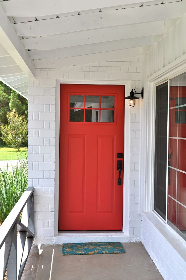 Red front craftsman style door - by Rafterhouse.