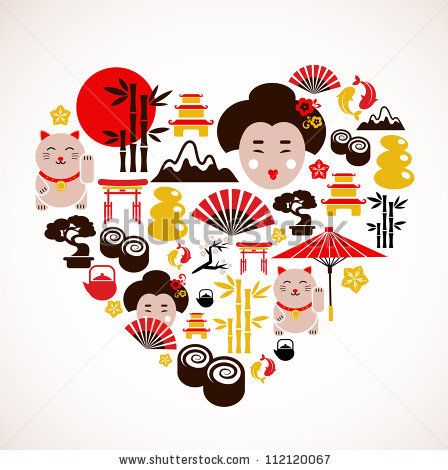 Heart shape with Japan icons - stock vector