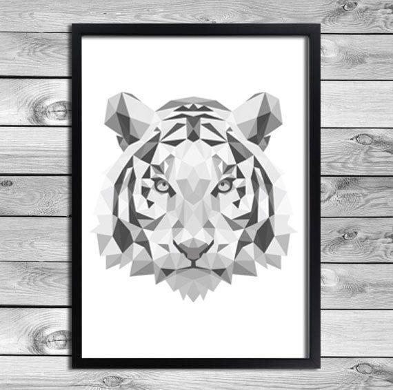 Printable Art Poster Print - DIY - Cool animal print for your interior! Geometrical Tiger