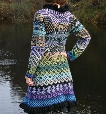 Amazing knitted jacket made of left-over yarn. The pattern is put together from different patterns of mittens she has knit earlier.