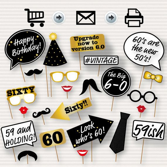 60th Birthday Party Printable Photo Booth Props - Glasses, Hats, Ties, Lips, Mustaches, Speech - INSTANT DOWNLOAD - Printable Birthday Props