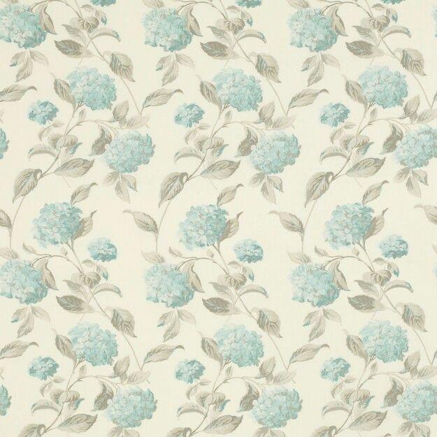 Laura Ashley Hydrangea Duck Egg Blue Curtain Fabric