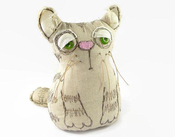 Soft Cat Toy, Stuffed Cat, Ooak Cat Doll