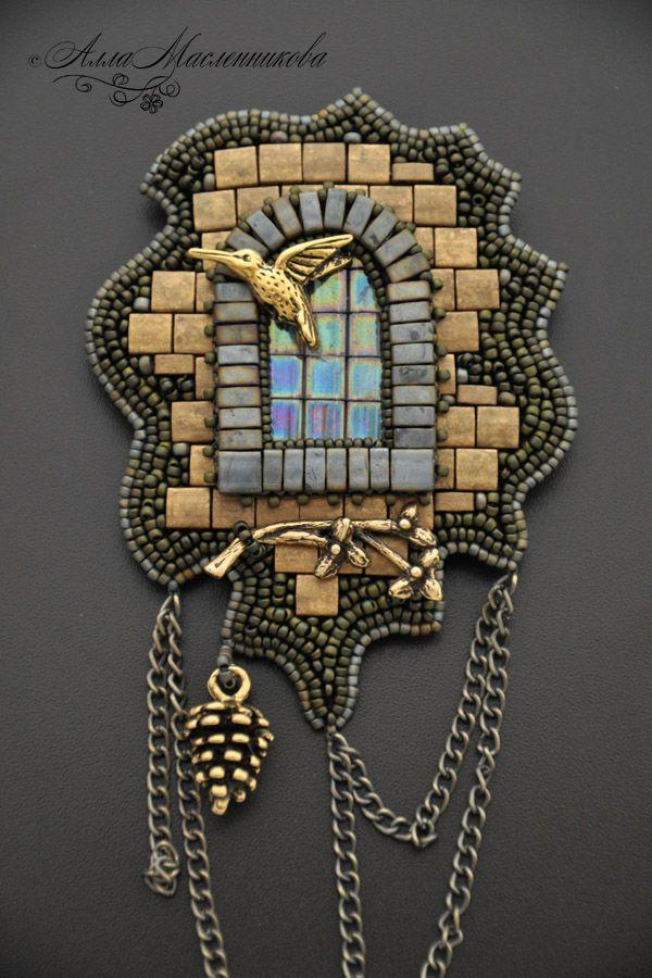 """Купить Кулон-брошь """"Окно старого замка"""" - комбинированный, бронза, бронзовый, серый, золотистый, золотой"""